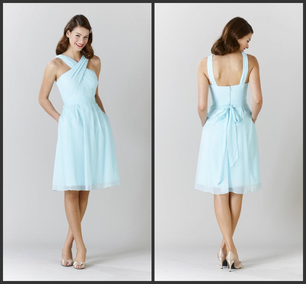 Light sky blue bridesmaid dresses gowns 2014 elegant for Light blue beach wedding dress