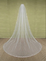 Wholesale Hot Selling in Stock Layer Rhinestones Edge Long Bridal Veils Ivory White Tulle Veils for Wedding Bridal Accessories