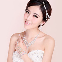 Wholesale BX00015 Wedding Jewelry Necklace four piece suit female clavicular jewelry bride jewelry necklace bracelet and earrings