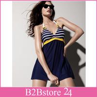 Bikinis Set Polyester Striped 2014 New Hot Women Padded Beach Swimwear Sailor Stripe Swimwear Sexy Swimsuit Swim Dress Plus Size Bikini
