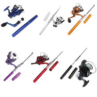 Wholesale High Quality Colors Mini Aluminum Pocket Sea Pen Fishing Rods Pole Reel H8022