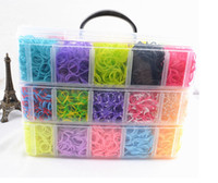 Unisex 8-11 Years Multicolor DHL free 12000pcs Crazy and fun Rubber Loom Band Kit Kids DIY Bracelet Silicone Loom Bands 3 layers PVC Box Family Loom Kit Set Refills