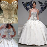 Wholesale Trendy Design Ivory Sparkle spring Pnina Tornai Dress Sweetheart Beading Crystal Ball Gown Wedding Satin Sweep Train