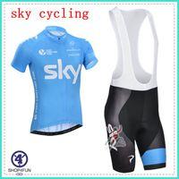 Wholesale 2014 new arrival Sky team Blue cycling bib short ultra breathable short sleeve cycling jersey set Rapha mountain bike jersey