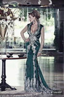 Reference Images Jewel/Bateau Elastic Satin Arabic Dubai Kaftan Evening Dresses 2014 New Elegant Charming Sexy Long Sleeve Green Lace Appliques Crystal Beaded Mermaid Prom Party Gown
