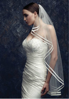 Wholesale 2014 New Wedding Veil Fingertip Length Double Ribbon Edge Tulle Bridal Veil Wedding Accessories Hot Sale