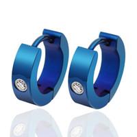 Wholesale fashion beatiful blue color hoop earrings stainless steel jewelry cute small women earing