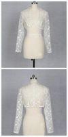 Wholesale Fee Shipping Elegant Wedding Lace Jacket Long Sleeve White Red Lace Wedding Jacket Bridal Shawl For Wedding Dresses Accessories