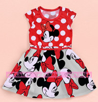 TuTu Summer A-Line In stock! Free shipping 2014 new summer dress girl Minnie mouse printing dot short sleeve dress dress girl fashion clothing set xym1313