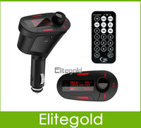 Wholesale LCD Car Kit MP3 Music Player Wireless FM Transmitter Modulator With Remote Control USB SD MMC Support Blue Red Color