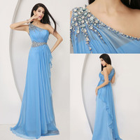 Model Pictures One-Shoulder Chiffon New 100% Real Pictures One Shoulder Blue Chiffon Evening Prom Dresses Beaded Crystal Bridal Party Celebrity Gowns 2014 Ready to Wear HY SSJ