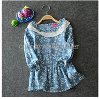 Wholesale 2014 Fall Girl Dress Jean Flower Light Blue Dresses Grace Kids Wear Children Vestido Princesa GD40714