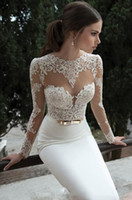 Model Pictures Crew Lace 2014 Sheer Vintage Evening Dresses Lace Appliqued Jewel Neck Long Sleeves Backless Sheath Court Train White Berta Bridal Gowns T-4