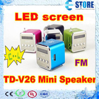 Wholesale Portable Mini Speaker TD V26 Cube Support FM Radio Mini Digital With LED Screen wu