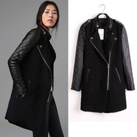 Wholesale 2014 Newest PU Leather amp Woolen Woman Black Coat Jacket Stand Collar Zipper Up Winter Warm Long Outwear Wool Trench Coats SXD0813