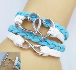 Wholesale Infinity Bracelet Heart to Heart Bracelet antique silver bracelet for girl charm bracelet vintage style Jewelry zr2