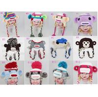 Wholesale New Coming Baby Sock Monkey Crochet Hat Cute Children Knitted Handmade Beanie Caps Milk Cotton