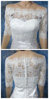 Jackets/Wraps Half-Sleeve Lace 2014 Hot White ivory Bateau lace shawl sexy Half Sleeves Wedding Shawl Alencon lace shawl zipper and buckles Wedding gown Jacket Coat Custom