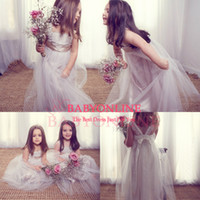 Wholesale 2014 Cheap Anna Campbell Lace Tulle Floor Length Backless Cute Girls Formal Dress Junior Bridesmaid Dress Gowns Flower Girls Dresses BO6432