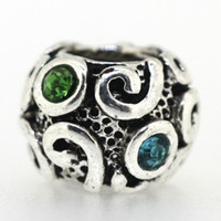 Wholesale 925 Sterling Silver Beautiful Crystal Blue Floral Green and White Beads European Charm Bracelet Snake Chain Women Fashion Jewelry