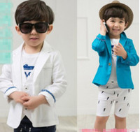 western suits - Korea Hot Sale Spring Autumn Fashion Western Style Suit Performance Clothing Outwear Children Boys Coat Outwear Coat White Blue T E0553