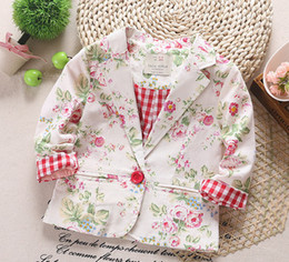 Wholesale Autumn New Arrival Girls Boutique Flower Printed Long Sleeve Suit Kids Outwear Girl Blazer Kid Lapel Collar Tops For Yrs I1701