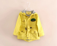 Wholesale Children Girls Autumn Casaul Bike Long Sleeve Wind Coat Kids Girls Zipper Plaid Lining Hoodies Outwear Khaki Orange Yellow Green M0689