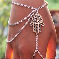 Wholesale 2014 NEWEST Fashion Jewelry Asymmetric Men Women s Tassel Hamsa Fatima Bracelet Finger Ring Slave Chain Hand Harness Bangle JB06124