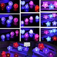 big star - LED Diamond Flashing Rings Adjustable Led Crystal Round Heart Flowers Stars Ring Light Up Flashing Glow Flash Ring Party Disco Finger Lights