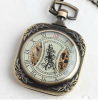 Wholesale 5pcs Unique Stamp Pad Style Bronze Copper Square Mechanical Pocket Watch Men Roman Dial Vintage Luxury Half Hunter Chain Fob Pendant Watches