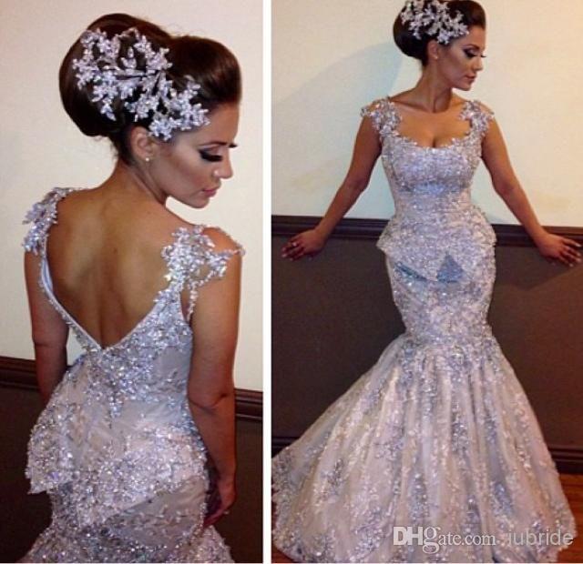 2014 Bling Bling Mermaid Wedding Dresses Sexy Sheer Straps ...