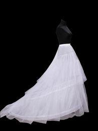 Wholesale New Hot Sales In Stock White hoop Bridal Wedding Dress Petticoat Crinoline With Chapel Train