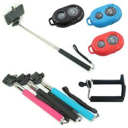 Promotion contrôleur bluetooth pour monopode Monopode de trépied extensible poche caméra auto caméra avec téléphone portable support pour téléphone portable Bluetooth obturateur caméra télécommande