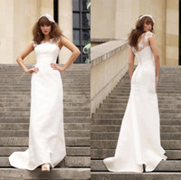 Cheap 2014 Grecian Wedding Dresses Crew Neckline Sheer Cap Sleeves Covered Button A-Line Court Train Bridal Gowns