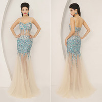 Model Pictures nude sheer beaded dress - 2015 New In Stock Dresses Prom Evening Gown Pageant Dresses With Spaghetti Straps Bead Crystals Sequins See Through Nude Tulle Real Sample