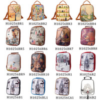 Wholesale 2014 Fashion Print Backpack Women Girl Cute Cartoon Backpack Small Female PU Backpack School Bag Preppy Style Bag Women H10256