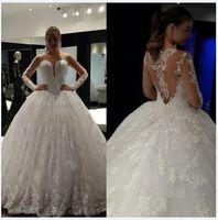 Wholesale Illusion long sleeve ball gown wedding dresses sheer back floor length long beach bridal gown vestidos de novia