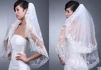Wholesale 2015 New Wedding Accessories White Ivory Fashion Short Two Layer Lace Bridal Veils With Comb Appliques High Quality W20140066