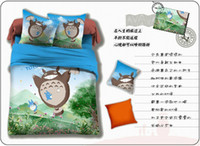 100% Cotton Woven Home Totoro cat blue bedding comforter set sets queen size duvet cover bed sheet sheets bedspread quilt for kids 100% cotton bedroom