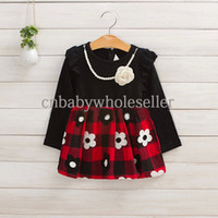 Wholesale 2014 Autumn Girls Dress White And Black Grid Flower Dresses With Pearl Necklece Grace Children Wear Kids Waer GD40714