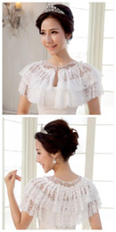 Wholesale 2014 New Arrival New Gorgeous lace wrap beautiful elegant bridal jacket for wedding Dresses Accessories For Women Party Shawl