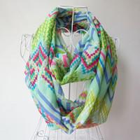 Wholesale Fashion womens scarf Infinity Scarves Chevron Wave Print Scarf Circle Loop