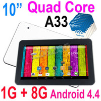Wholesale 10 Inch Quad Core Allwinner A33 Tablet PC GHz GB RAM G ROM Android KitKat Bluetooth Screen Wifi Dual Camera OTG MID