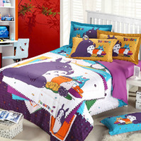 Wholesale 3D Totoro purple Kids cartoon bedding comforter set bedroom bed sets children queen size bedspread sheet duvet cover quilt linen home texile