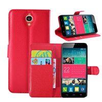 al por mayor caso de que uno x-Litchi de lujo caja de cuero de la PU del tirón con la tarjeta de crédito ranuras Soporte para Alcatel One Touch Ídolo X 6040 6040A 6040D TCL S950 (A0078)
