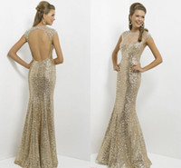 Reference Images High Neck Sequined Backless Champagne Long Prom Dresses Sheer Tulle High-neck Bling Bling Crystals Shiny Sequined Mermaid Women Formal Evening Gowns Illusion