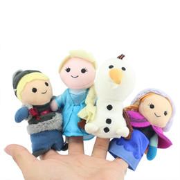 Wholesale 4pcs set New in box Frozen Finger Puppet Set of Four Stuffed Toys Finger Dolls Baby Toys Olaf Kristoff Anna Elsa Plush doll