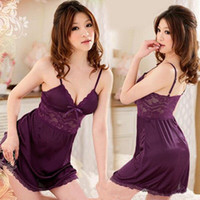 Low- cut Women Braces Skirt Satin Sexy Sleepwear Lace Sexy Li...