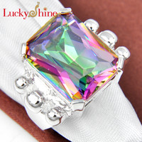 LUckyshine - - - 5pcs lot 925 sterling silver square ring for l...