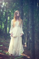 Sheath/Column Model Pictures Scoop 70s Boho Wedding Dress. Hippie Prairie Tiered Wedding Maxi Dress